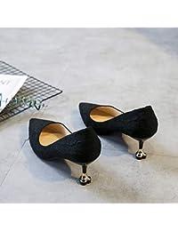 Yukun zapatos de tacón alto Cat with High Heels Female 5Cm Pointed  Versatile Stiletto Shallow Mouth ce0c011a9d3a
