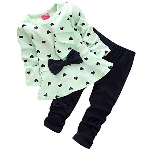Vovotrade 0-24 Meses Nuevo Otoño Primavera Bebé Niña 2 Piezas Conjuntos En forma de corazón Impresión Corbata de moño Encantador Manga Larga Camiseta + Pantalones (0-6Meses, Verde)
