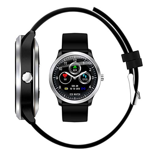 DUABOBAO Smart Watch Für Männer Und Frauen, HRV Bericht Blutdruck Herzfrequenz Test, EKG, EKG EKG + PPG Sport Wasserdicht Armband,Black