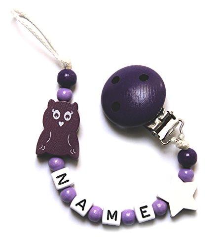 Baby Mädchen Schnullerkette mit Perlen aus Holz und Wunschname. Weiß Lila mit eule (ANNIKA)