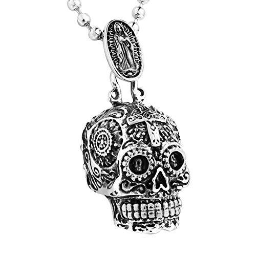XBYN Edelstahl Zuckerschädel Anhänger Halskette Gothic Skeleton Anhänger für Männer mit 24inch Kette