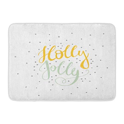 Rongpona Fußmatten Bad Teppiche Outdoor/Indoor Fußmatte Wort Holly Jolly Unique Perfekt für Flyer und Weihnachten Weihnachtsfreude Badezimmer Dekor Teppich Badematte -
