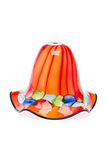 Lampenschirm Tischlampe Lampe Glas Glasschirm Murano Stil glass lampshade orange -