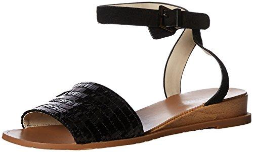 Kenneth Cole New York Damen Flat with Ankle Strap Jinny, Flache Sandale mit Knöchelriemen, schwarz, 39.5 EU -