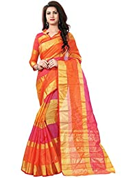 SK Clothing Women's Manipuri Cotton Silk Saree With Blouse Piece (Manipuri_Orange)