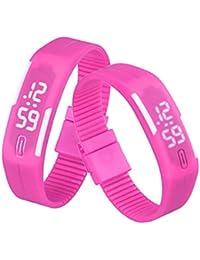 Sannysis Goma Reloj LED Fecha Deportes pulsera, Digital reloj de pulsera, color (Rosa Caliente)