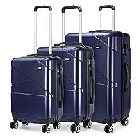 Kono Hardshell Suitcase 4 Wheeled Spinner Luggage Sets of 3 pcs (Set,Navy)