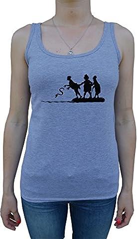 Wurf Schlange Damen Tank T-Shirt Grau Baumwolle Women's Tank T-Shirt