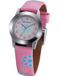 Reloj TIME FORCE de niña o señora. Acero Correa de piel. Flores Rosa TF-3201B11