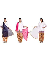 Nikita Women's Synthetic Chiffon Dupattas(Navy Blue,Pink,White Colors) Pack Of 3 Combo