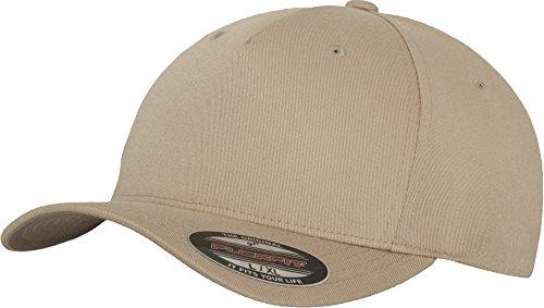 Flexfit 5 Panel Baseball Cap - Unisex Mütze, Kappe für Herren und Damen, einfarbige Basecap, rundum geschlossen - Farbe khaki, Größe S/M -