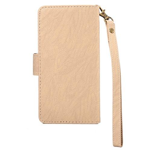 iPhone Case Cover A4 universelle Da Vinci texture horizontale Flip étui en cuir avec crad slots et portefeuille et cadre photo et boucle magnétique et 18 cm Lanyard pour iPhone 7 & 6s & 6 & 5 & 5s SE, Gold