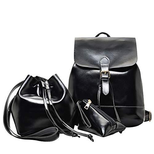 holitie Herren Damen Unisex Student Schulrucksack Rucksack Backpack Schultasche handbag, Multifunktionstasche Leder Schulter Crossbody Tasche Handtasche Handytasche Für Frauen 3 Stücke