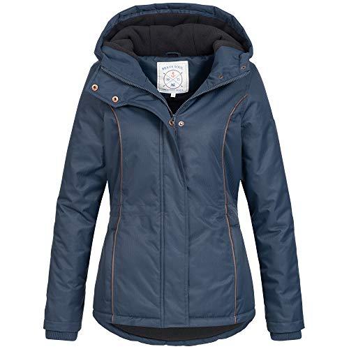 Azuonda Damen Winter Jacke Parka Winterjacke warm gefüttert wasserabweisend Kapuze Az100 XS-XXL 2-Farben, Größe:M, Farbe:Navy