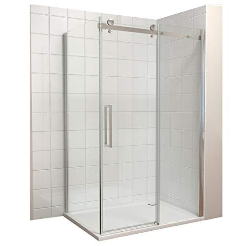 Dusche Duschkabine Duschabtrennung 110x195cm Schiebetür mit Seitenwand 90x195cm Duschtür Duschwand aus Sicherheitsglas