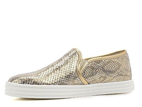 Hogan Rebel Damen Slipper Gold laminiert Leder - Modellnummer: HXW1410Q560BXU0ATH Gold