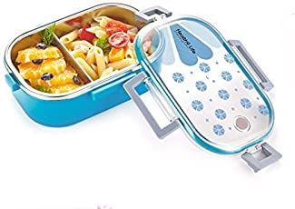 Clastik Kids Stainless Steel School Lunch Box with Transparent Lid, Medium-19x12x5cm (Blue)