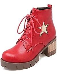 IWxez Botas de Moda para Mujer PU (Poliuretano) Botas de Invierno Bloque con tacón Botines con Punta Cerrada…