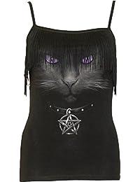SPIRAL - Débardeur Femme Spiral DARK WEAR - Black Cat - Noir