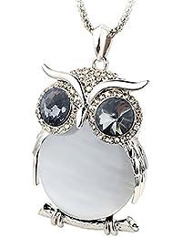 Le Premium® Cristal Yeux gris collier pendentif Big Yeux de hibou Dans le ventre des yeux de chat