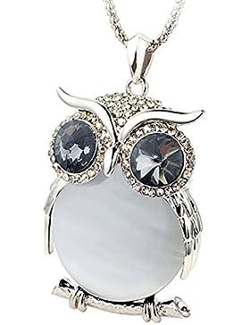 Le Premium® Große Augen Eule Halskette Grau Crystal Eye Weiß vergoldet