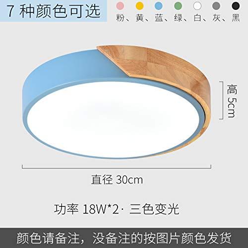 Led ultradünne Schlafzimmer Studie Lampe Runde Holzkunst Schmiedeeisen Lampen 30cm dreifarbig hellgelb