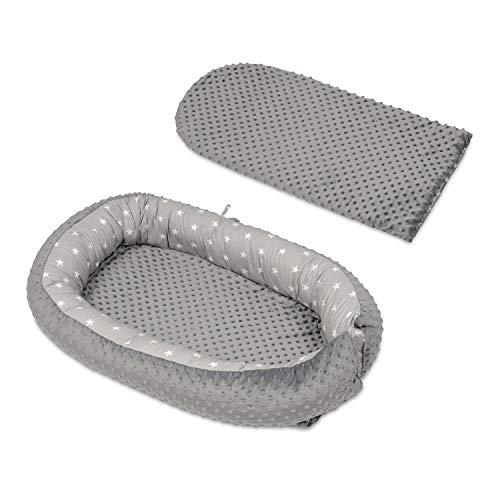 Velinda Kuschelnest Babynest Babynestchen Nestchen Reisebett Wickelauflage Kuschelbett (Muster: weiße Sternchen auf Grau - grau) - Hohe Schaum Wäsche