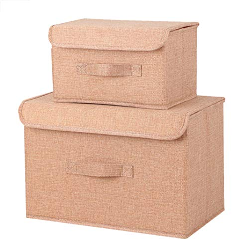 jpjbox 2Stück Aufbewahrungsboxen Faltbar Aufbewahrungsbox Cube Korb Bin Stoff Boxen für Home Gelb (Gelb-stoff Bin)