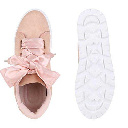 Damen Plateau Sneakers | Sneaker Metallic Cap | Lack Schuhe Blumen | Allyear Schuhe Velours Schleifen Rosa Velours