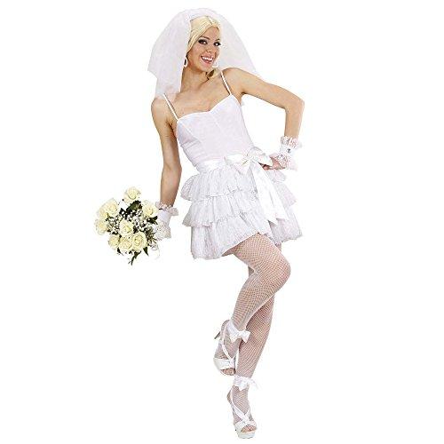 Widmann 89102 - Kostüm Braut mit Top, Rock, Gürtel, Armbänder und Kopfbedeckung mit Schleier, M