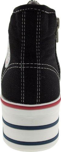 Maxstar C50 7-Fach mit Reißverschluss Fashion Platform High Top Sneakers Schwarz