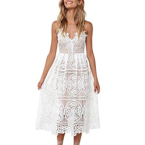 Stars Rock Kostüm Lady - VJGOAL Damen Kleider, Frauen Elegant Temperament Sling Kleid Sommer Mode Sexy Hohl Spitze Strandrock Women's Dress(Weiß,S)