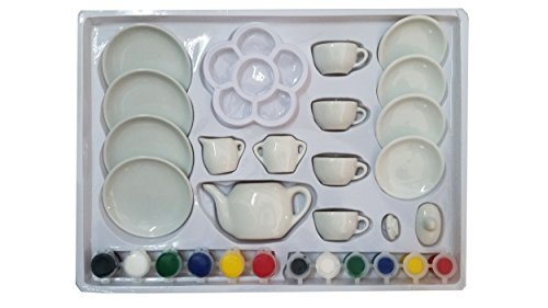 Vaibhav Big Creativity Paint Your Own Mini Tea Set For Kids Art Craft Kit - Cute Mini Paint Your Tea Set