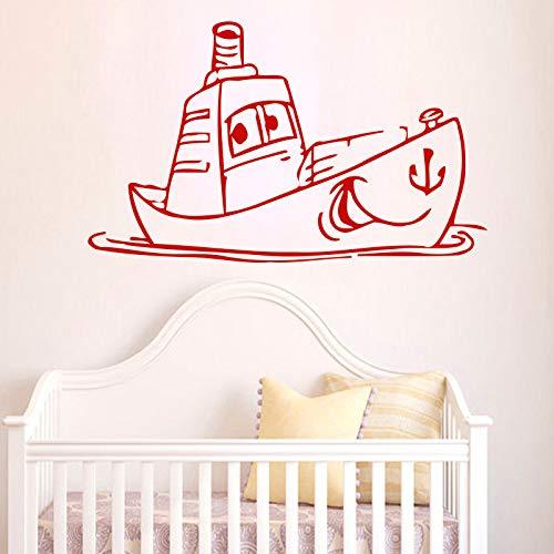 guijiumai DIY Kinder Schlafzimmer Wandaufkleber Kindergarten Boot Aufkleber Vinyl Removable Home Decor Nette Schiff Wandtattoos rot 80 x 48 cm -