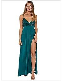 6137b6abc Vestido maxi sexy de las mujeres Las mujeres correas espaguetis vestido de  noche sin mangas Sumergirse