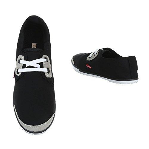 Damen Schuhe Freizeitschuhe Schnürer Low-top Sneaker Neongelb Schwarz