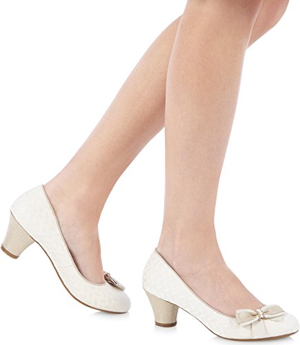 LADIES RUBY SHOO LILY CREAM LOW HEELED VINTAGE STYLE RETRO WEDDING SHOES-UK 5 (EU 38) - 3