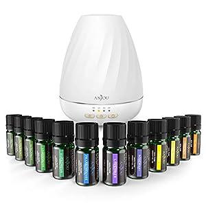 ANJOU Aromatherapy Essential Oil und Aroma Diffuser Set 200ML mit 12 Ätherische Öle(12 x 5ml) 7 Farben für Yoga Spa Wohn-, Schlaf-, Bade- oder Kinderzimmer Hotel
