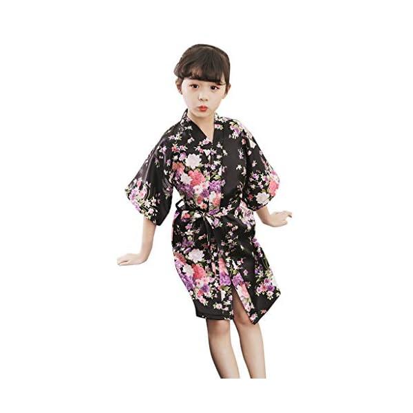 Vectry Abrigo Bebé, Niña Ropa Infantil Otoño Invierno Floral Seda Satén Kimono Albornoces Albornoz Ropa De Dormir Ropa… 2