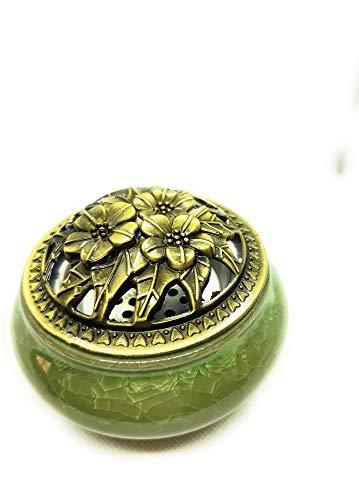 mscuti Incienso con Caja de Incienso de aleación de Calabash Brasero de cerámica con bandejas, Color Verde