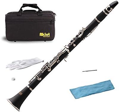 aklot BB clarinete baquelita cuerpo latón chapado en níquel 17teclas con caso accesorios