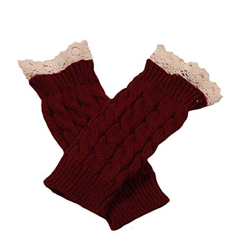 Sannysis Spitze Strick Fringe warme Handschuhe (Weinrot)