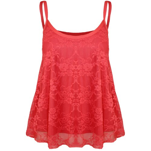 Canotta da donna grande, maglia di pizzo floreale, a taglio svasato Red -  Celeb