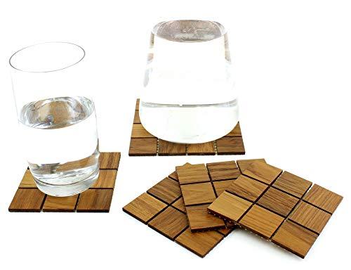 wodewa Holzuntersetzer Eckig für Gläser I 5-teiliges Glasuntersetzer Set Teak Holz I Hochwertige Untersetzer Holz für Gläser Getränke Untersetzer -