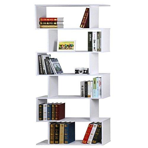 WarmieHomy 6-Tier Bookcase Wood S Shape Bookshelf DVD/CD Rack Storage Unit Free Standing Shelving Unit Room Divider for Home Office (White)