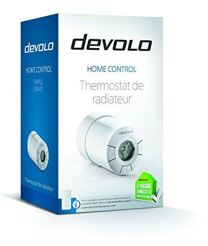 Thermostat de radiateur devolo Home Control (régulation du chauffage sans fil, thermostat connecté, Z-Wave, pilotage via par appli iOS/Android, actionneur connecté, installation facile) blanc