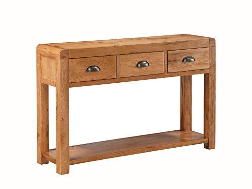 Oakville Grande table d'entrée en chêne massif – Table console 3 tiroirs en chêne massif avec étagère – Finition : rustique en chêne – couloir – Salle à manger – Meuble de salon