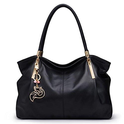 MATAGA Luxuriöse Handtaschen der Frauen Premium Leder Tote Schultertaschen Mode Damen Große Taschen Soft Griff (schwarz) (Tote Benutzerdefinierte Bag)