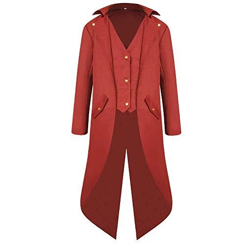 Mantel Frack Jacke Gothic Gehrock Uniform Kostüm Praty Outwear(Rot,EU-S) ()
