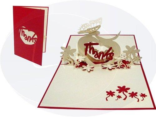 Lin de Pop up Cartes cartes de vœux Cartes de remerciement, cœur Thanks